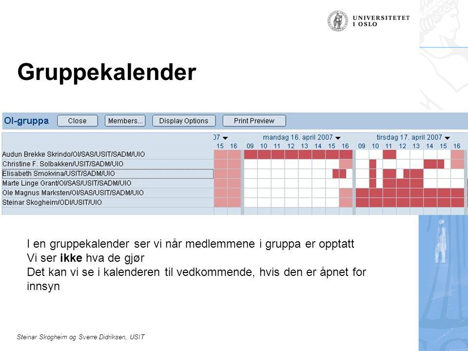 Steinar Skogheim og Sverre Didriksen, USIT Gruppekalender I en gruppekalender ser vi når medlemmene i gruppa er opptatt Vi ser ikke hva de gjør Det kan vi se i kalenderen til vedkommende, hvis den er åpnet for innsyn