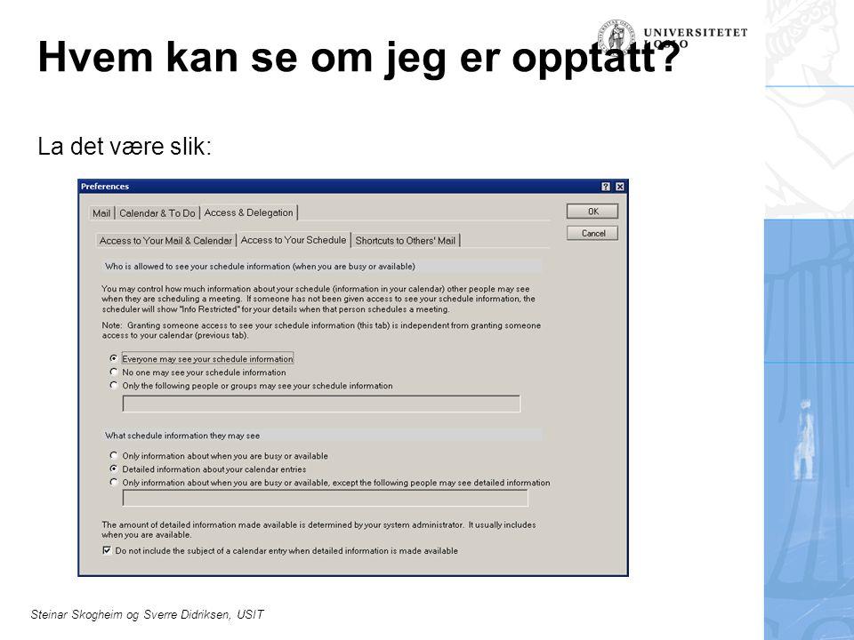 Steinar Skogheim og Sverre Didriksen, USIT Hvem kan se om jeg er opptatt? La det være slik: