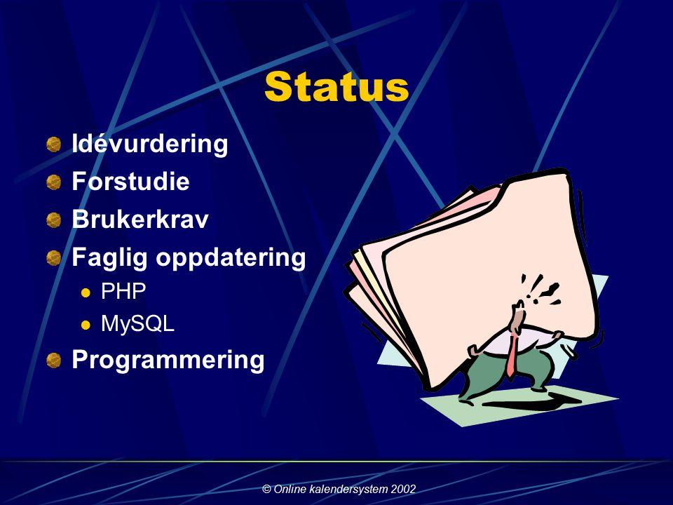 © Online kalendersystem 2002 Hvordan løste vi oppgaven.