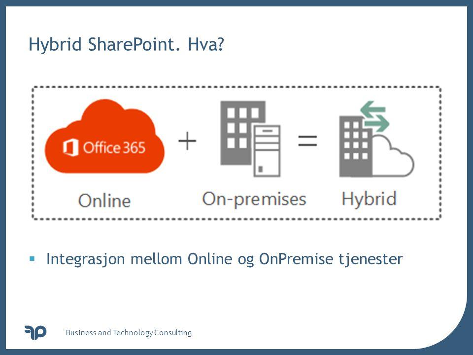 v Hybrid SharePoint. Hva? Business and Technology Consulting  Integrasjon mellom Online og OnPremise tjenester