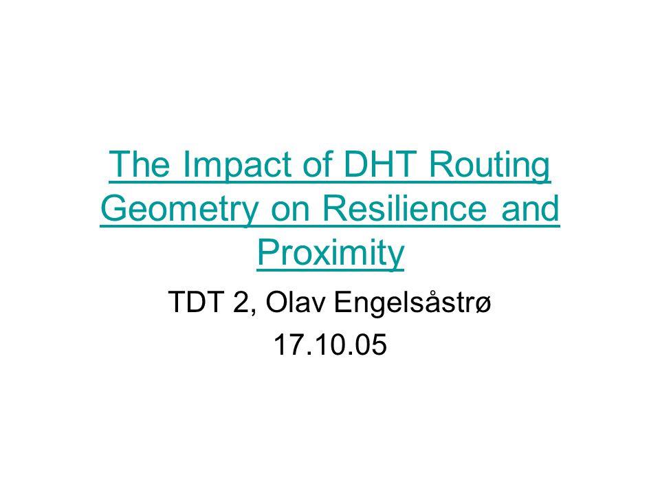 Innledning Vi skal se på forskjellige geometrier for DHT'er og så på hvordan de påvirker –Resilience –Proximity Først bakgrunn for geometrier + div Formalisering/forklaring av uttrykk som brukes i artikkelen.