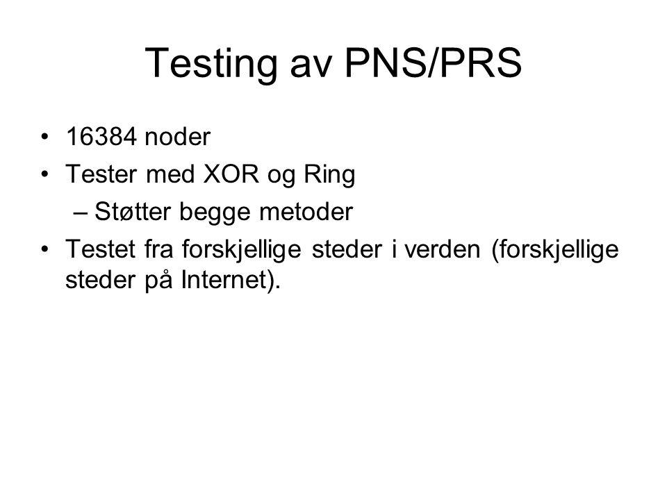 Testing av PNS/PRS 16384 noder Tester med XOR og Ring –Støtter begge metoder Testet fra forskjellige steder i verden (forskjellige steder på Internet).