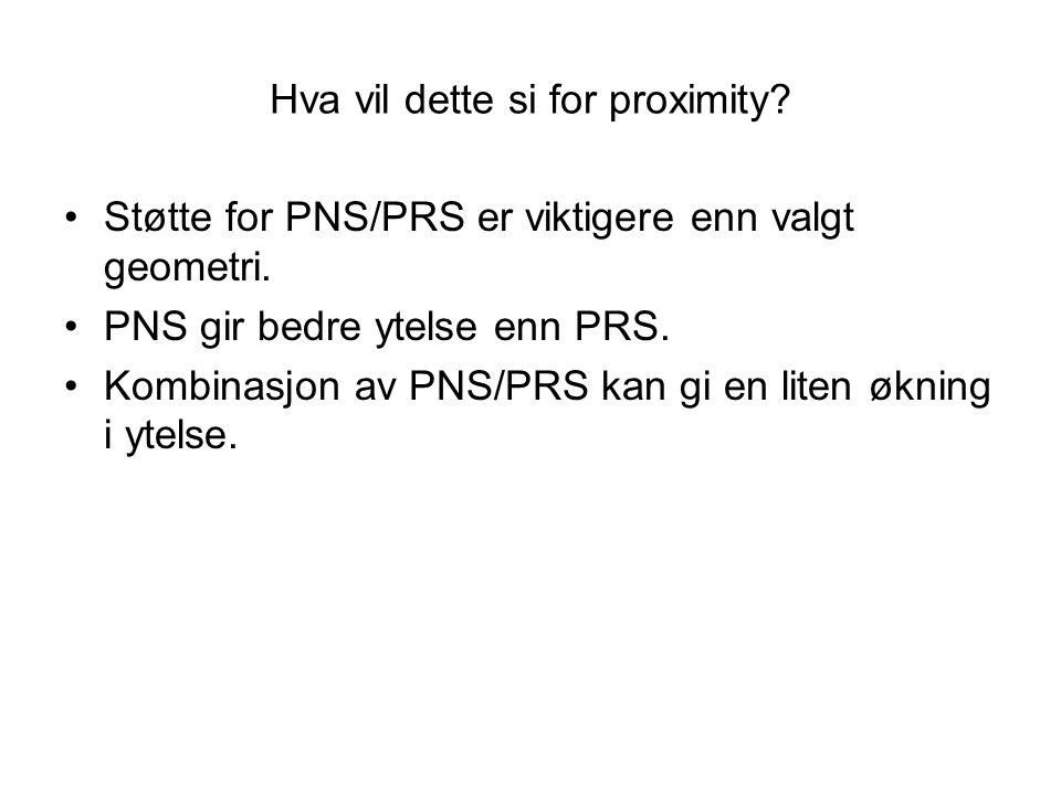 Hva vil dette si for proximity. Støtte for PNS/PRS er viktigere enn valgt geometri.