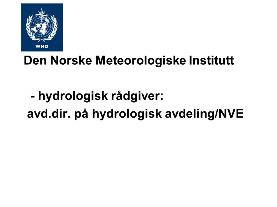 Den Norske Meteorologiske Institutt - hydrologisk rådgiver: avd.dir. på hydrologisk avdeling/NVE