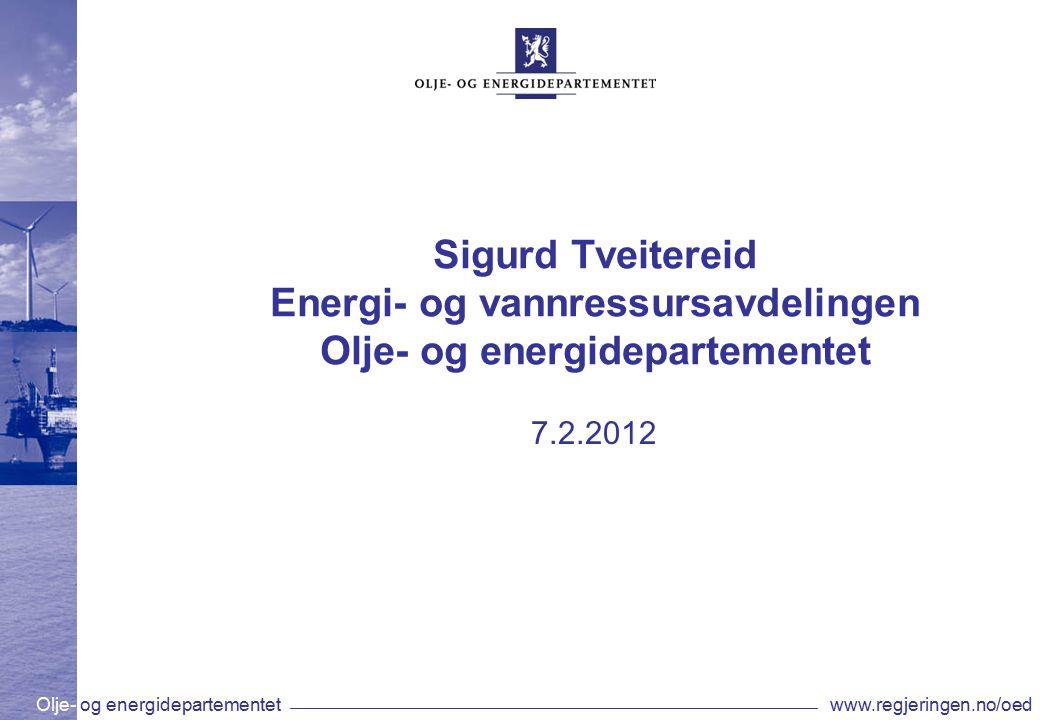 Olje- og energidepartementetwww.regjeringen.no/oed Fyllingsgrad til norske vannmagasin i prosent