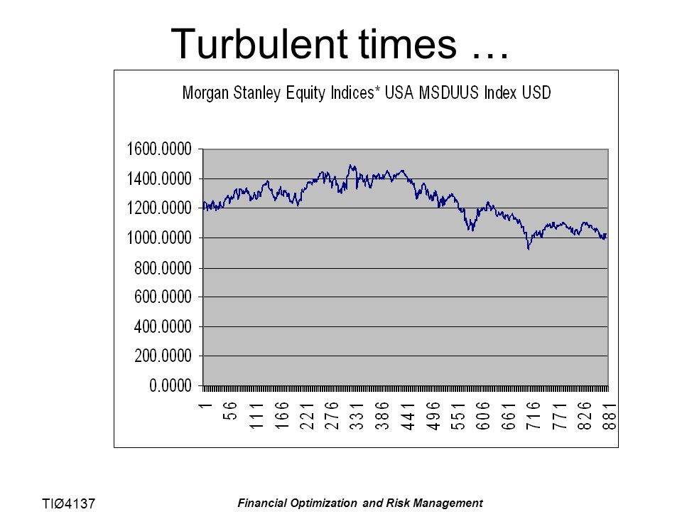 TIØ4137 Financial Optimization and Risk Management Turbulent times …
