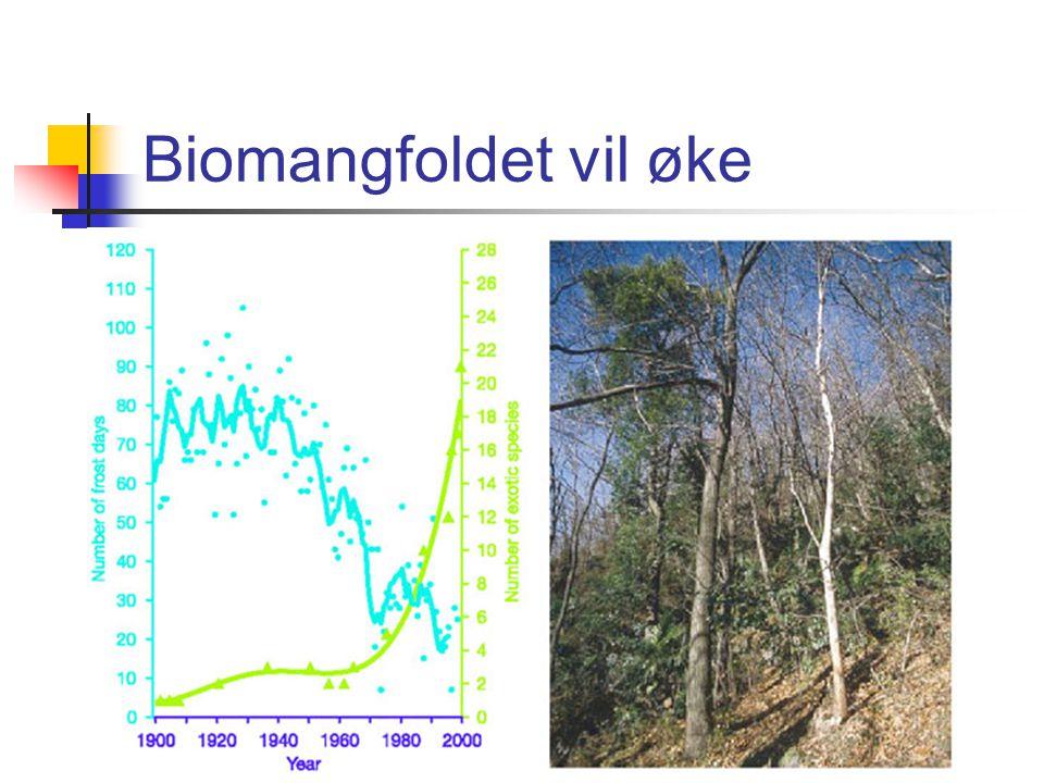 Klimaeffekter 15 – 37 % av terrestre arter er direkte utrydningstruet innen 2050 (Thomas et al. 2004). Klimaeffekter forsterkes av habitatfragmenterin