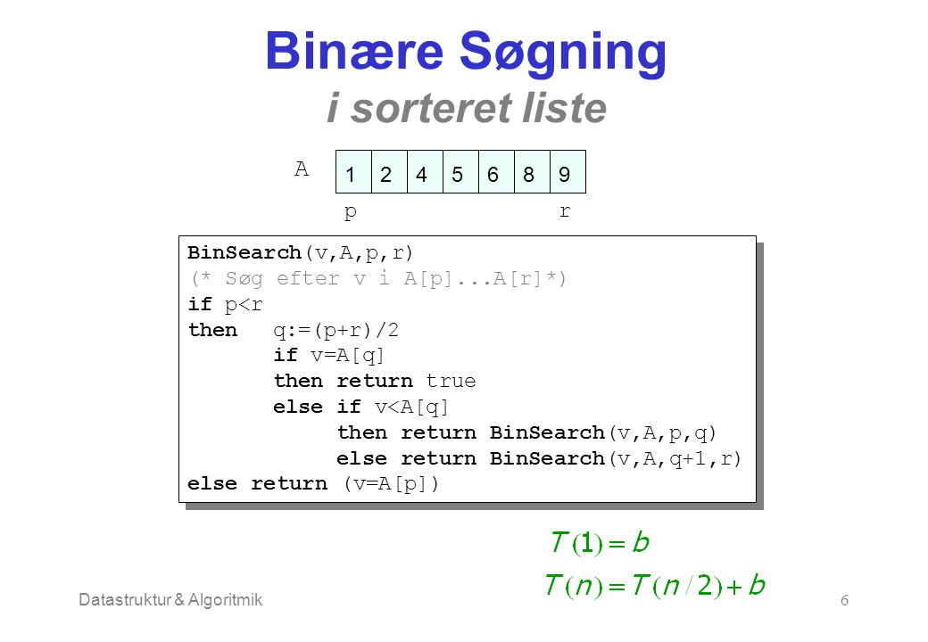 Datastruktur & Algoritmik6 Binære Søgning i sorteret liste A pr BinSearch(v,A,p,r) (* Søg efter v i A[p]...A[r]*) if p<r thenq:=(p+r)/2 if v=A[q] then return true else if v<A[q] then return BinSearch(v,A,p,q) else return BinSearch(v,A,q+1,r) else return (v=A[p]) BinSearch(v,A,p,r) (* Søg efter v i A[p]...A[r]*) if p<r thenq:=(p+r)/2 if v=A[q] then return true else if v<A[q] then return BinSearch(v,A,p,q) else return BinSearch(v,A,q+1,r) else return (v=A[p])