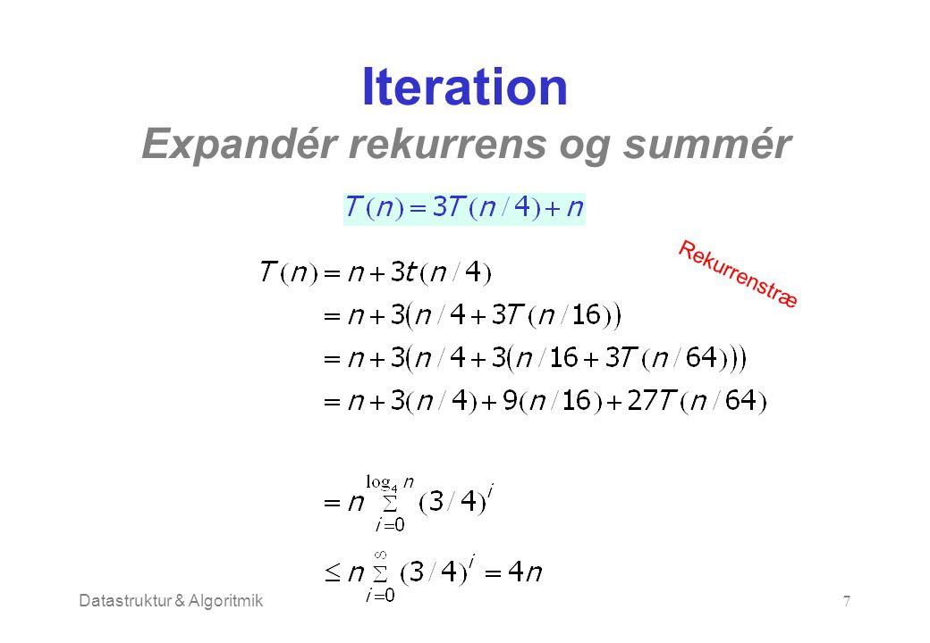 Datastruktur & Algoritmik7 Iteration Expandér rekurrens og summér Rekurrenstræ