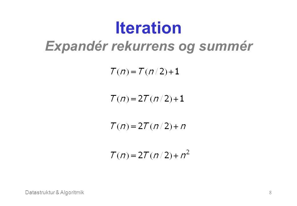 Datastruktur & Algoritmik8 Iteration Expandér rekurrens og summér