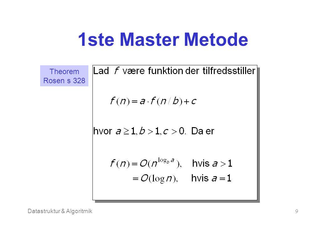 Datastruktur & Algoritmik9 1ste Master Metode Theorem Rosen s 328