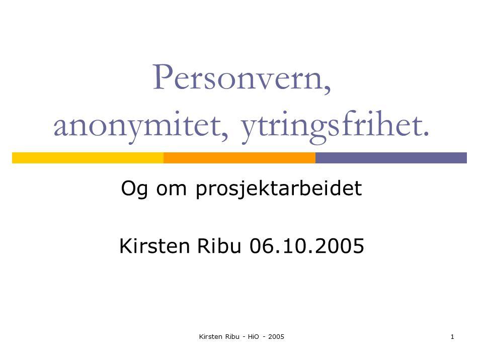 Kirsten Ribu - HiO - 20051 Personvern, anonymitet, ytringsfrihet.
