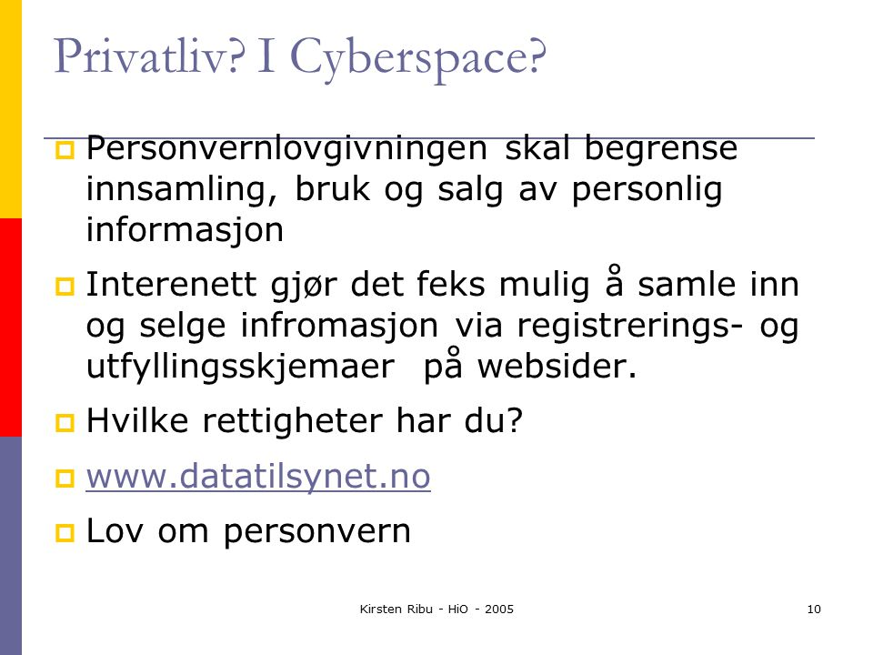 Kirsten Ribu - HiO - 200510 Privatliv. I Cyberspace.