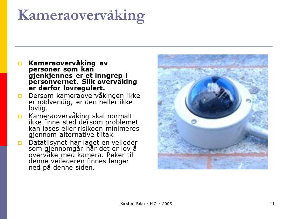Kirsten Ribu - HiO - 200511 Kameraovervåking  Kameraovervåking av personer som kan gjenkjennes er et inngrep i personvernet.