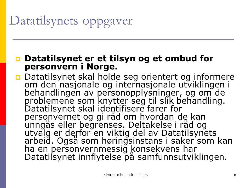 Kirsten Ribu - HiO - 200516 Datatilsynets oppgaver  Datatilsynet er et tilsyn og et ombud for personvern i Norge.