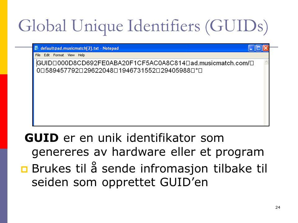 Kirsten Ribu - HiO - 200524 Global Unique Identifiers (GUIDs) GUID er en unik identifikator som genereres av hardware eller et program  Brukes til å sende infromasjon tilbake til seiden som opprettet GUID'en