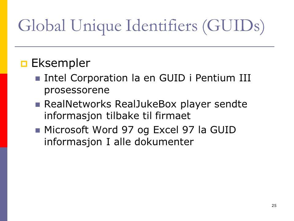 Kirsten Ribu - HiO - 200525 Global Unique Identifiers (GUIDs)  Eksempler Intel Corporation la en GUID i Pentium III prosessorene RealNetworks RealJukeBox player sendte informasjon tilbake til firmaet Microsoft Word 97 og Excel 97 la GUID informasjon I alle dokumenter