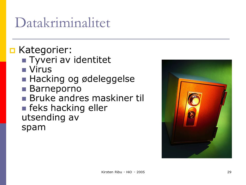 Kirsten Ribu - HiO - 200529 Datakriminalitet  Kategorier: Tyveri av identitet Virus Hacking og ødeleggelse Barneporno Bruke andres maskiner til feks hacking eller utsending av spam