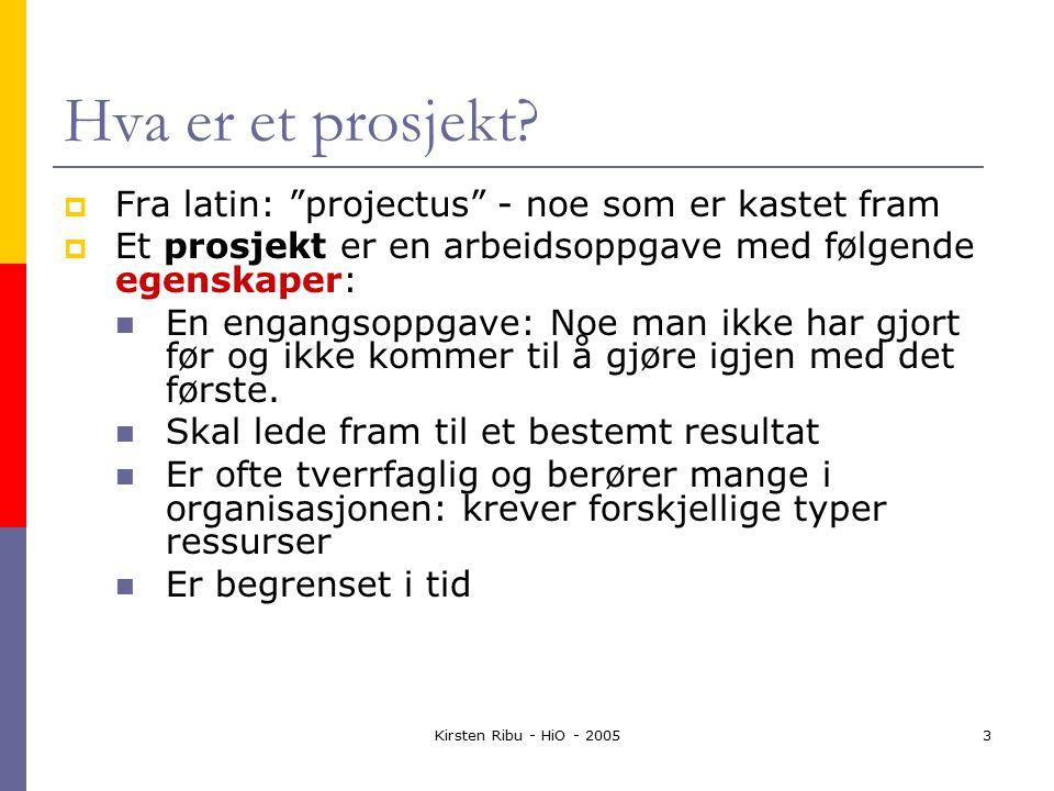 Kirsten Ribu - HiO - 20053 Hva er et prosjekt.