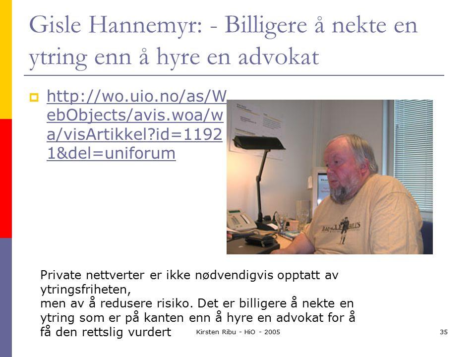 Kirsten Ribu - HiO - 200535 Gisle Hannemyr: - Billigere å nekte en ytring enn å hyre en advokat  http://wo.uio.no/as/W ebObjects/avis.woa/w a/visArtikkel?id=1192 1&del=uniforum http://wo.uio.no/as/W ebObjects/avis.woa/w a/visArtikkel?id=1192 1&del=uniforum Private nettverter er ikke nødvendigvis opptatt av ytringsfriheten, men av å redusere risiko.
