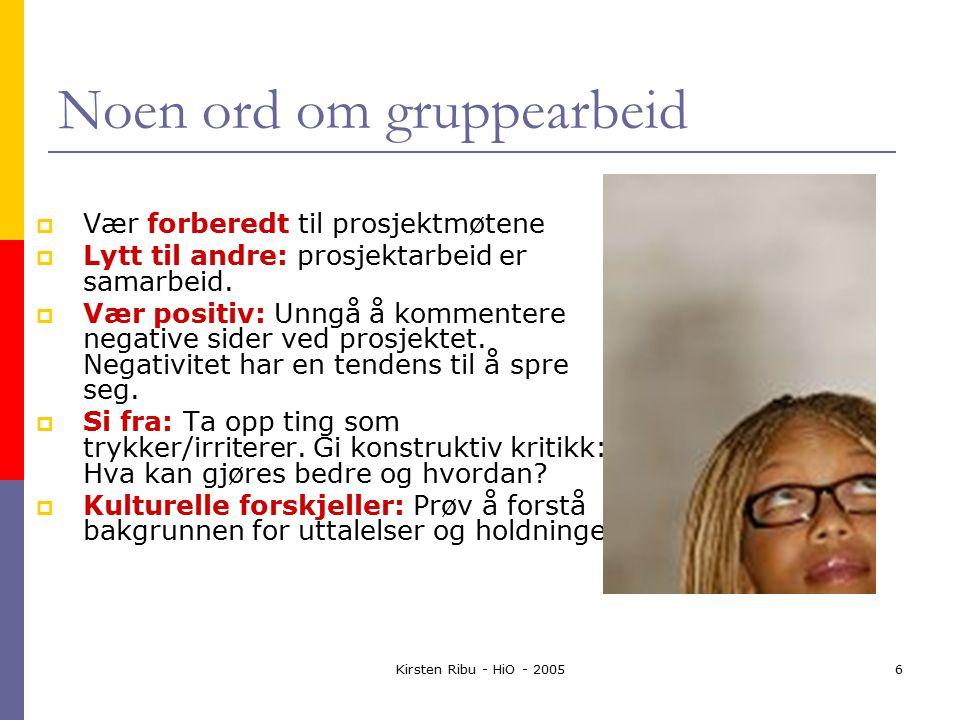 Kirsten Ribu - HiO - 20056 Noen ord om gruppearbeid  Vær forberedt til prosjektmøtene  Lytt til andre: prosjektarbeid er samarbeid.