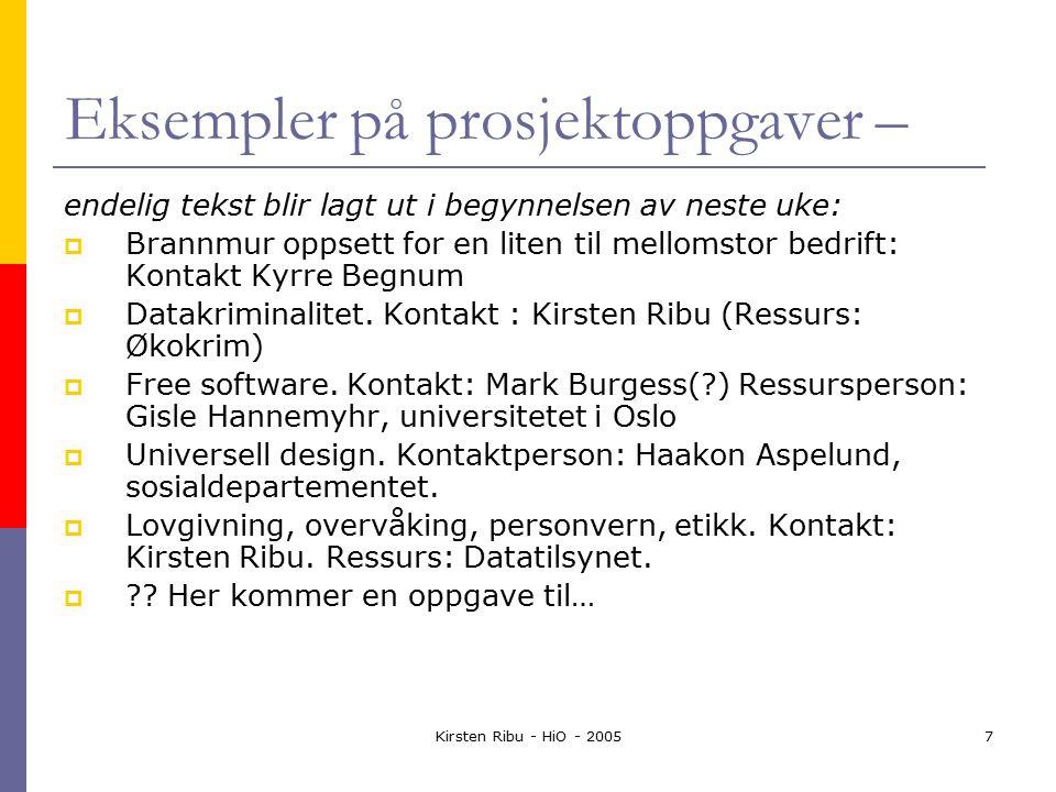 Kirsten Ribu - HiO - 20057 Eksempler på prosjektoppgaver – endelig tekst blir lagt ut i begynnelsen av neste uke:  Brannmur oppsett for en liten til mellomstor bedrift: Kontakt Kyrre Begnum  Datakriminalitet.