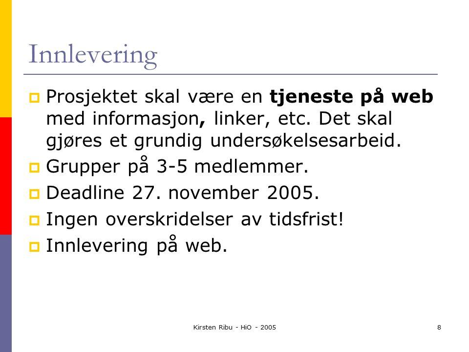 Kirsten Ribu - HiO - 20058 Innlevering  Prosjektet skal være en tjeneste på web med informasjon, linker, etc.