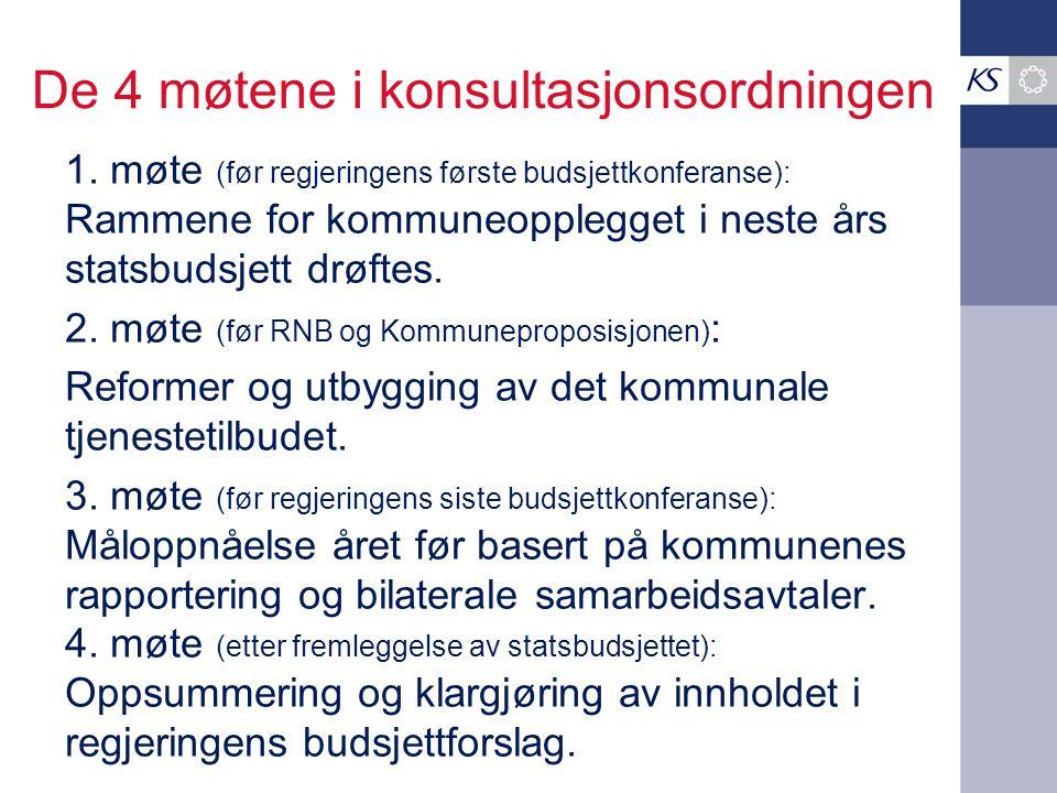 De 4 møtene i konsultasjonsordningen 1. møte (før regjeringens første budsjettkonferanse): Rammene for kommuneopplegget i neste års statsbudsjett drøf