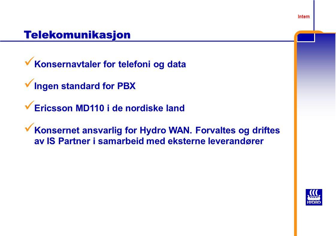 Telekomunikasjon Konsernavtaler for telefoni og data Ingen standard for PBX Ericsson MD110 i de nordiske land Konsernet ansvarlig for Hydro WAN.