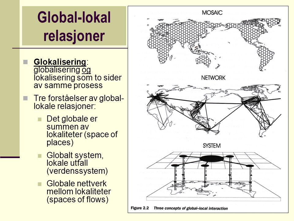 Global-lokal relasjoner Glokalisering: globalisering og lokalisering som to sider av samme prosess Tre forståelser av global- lokale relasjoner: Det g