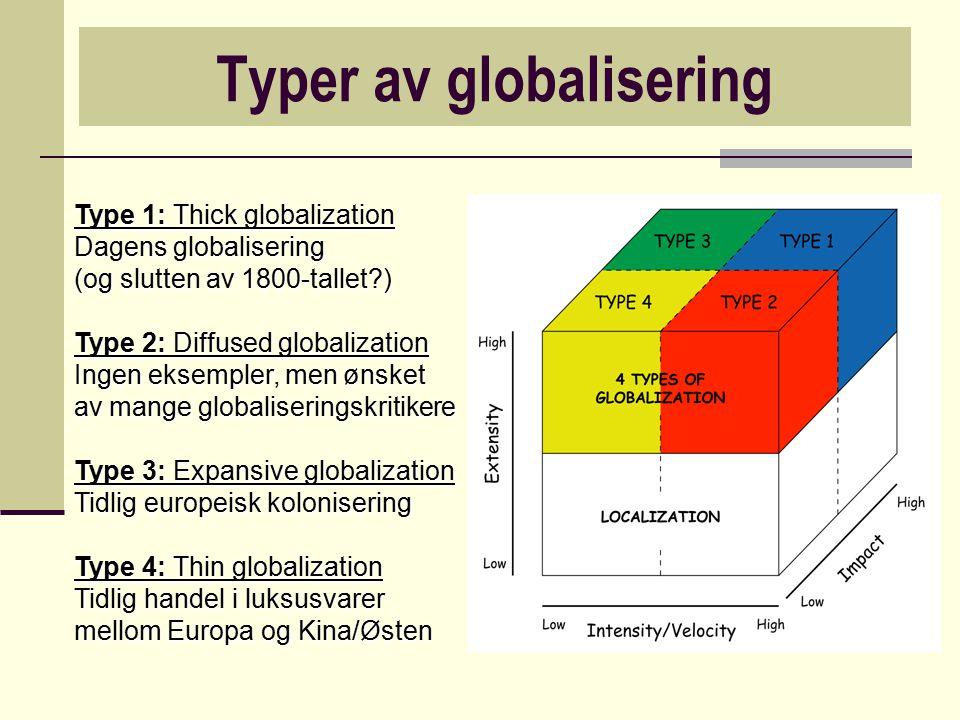 Typer av globalisering Type 1: Thick globalization Dagens globalisering (og slutten av 1800-tallet?) Type 2: Diffused globalization Ingen eksempler, m