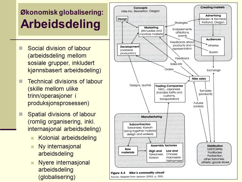 Social division of labour (arbeidsdeling mellom sosiale grupper, inkludert kjønnsbasert arbeidsdeling) Technical divisions of labour (skille mellom ul