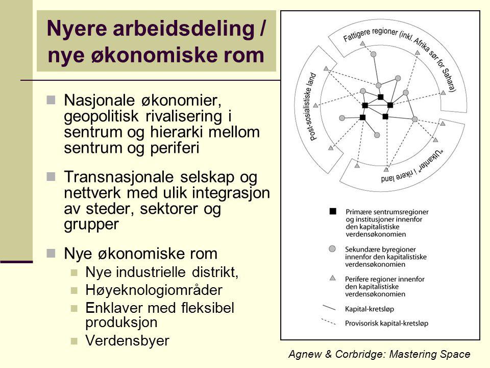 Nyere arbeidsdeling / nye økonomiske rom Nasjonale økonomier, geopolitisk rivalisering i sentrum og hierarki mellom sentrum og periferi Transnasjonale