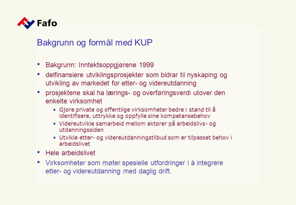 Bakgrunn og formål med KUP Bakgrunn: Inntektsoppgjørene 1999 delfinansiere utviklingsprosjekter som bidrar til nyskaping og utvikling av markedet for