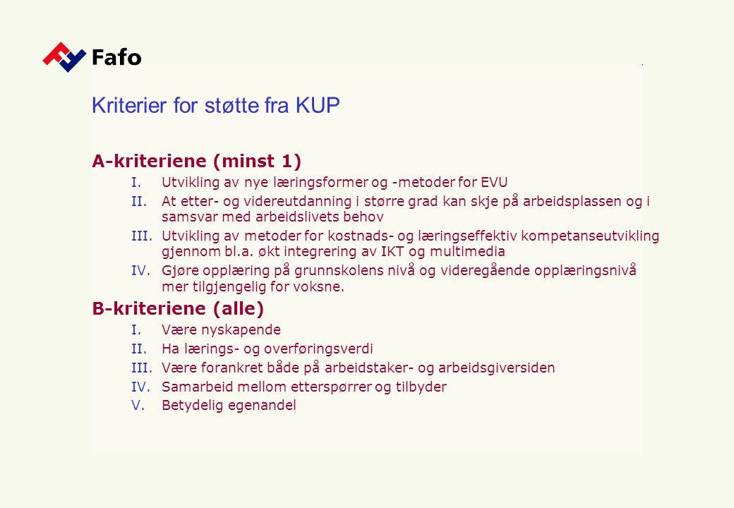 Kriterier for støtte fra KUP A-kriteriene (minst 1) I.Utvikling av nye læringsformer og -metoder for EVU II.At etter- og videreutdanning i større grad