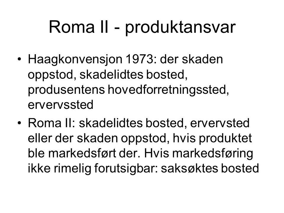 Roma II - produktansvar Haagkonvensjon 1973: der skaden oppstod, skadelidtes bosted, produsentens hovedforretningssted, ervervssted Roma II: skadelidt