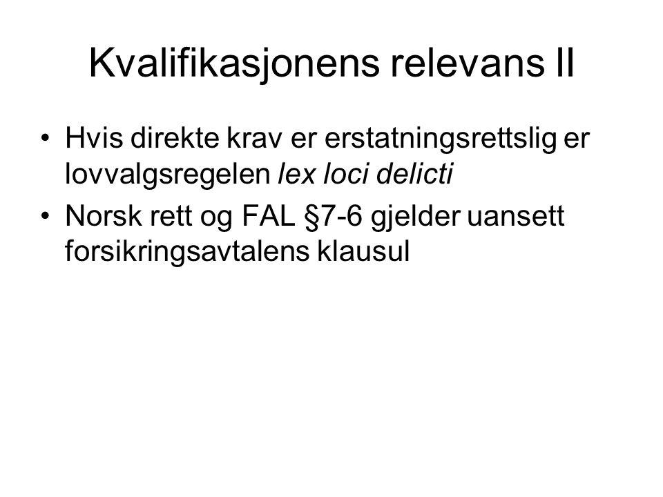 Kvalifikasjonens relevans II Hvis direkte krav er erstatningsrettslig er lovvalgsregelen lex loci delicti Norsk rett og FAL §7-6 gjelder uansett forsi