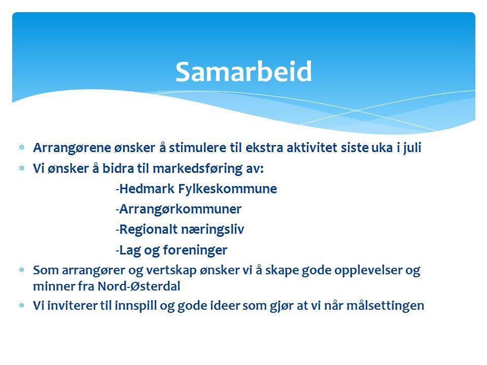 Arrangørene ønsker å stimulere til ekstra aktivitet siste uka i juli  Vi ønsker å bidra til markedsføring av: -Hedmark Fylkeskommune -Arrangørkommuner -Regionalt næringsliv -Lag og foreninger  Som arrangører og vertskap ønsker vi å skape gode opplevelser og minner fra Nord-Østerdal  Vi inviterer til innspill og gode ideer som gjør at vi når målsettingen Samarbeid