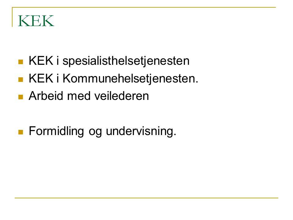 KEK KEK i spesialisthelsetjenesten KEK i Kommunehelsetjenesten. Arbeid med veilederen Formidling og undervisning.