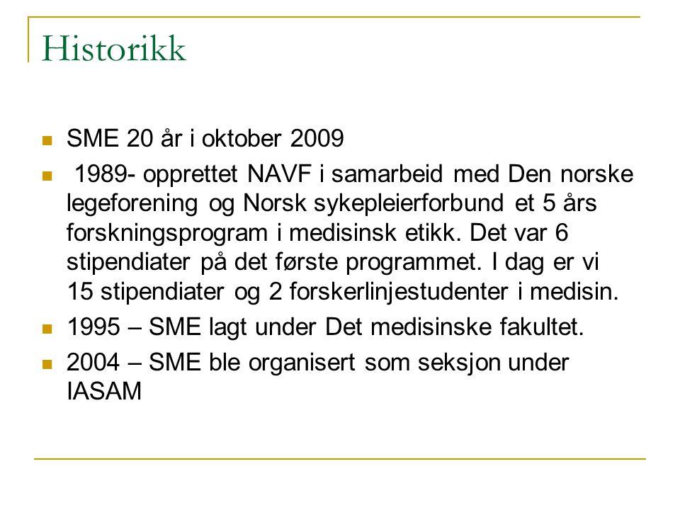 Historikk SME 20 år i oktober 2009 1989- opprettet NAVF i samarbeid med Den norske legeforening og Norsk sykepleierforbund et 5 års forskningsprogram