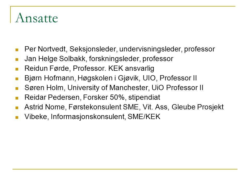 Internasjonale prosjekter 8 internasjonale prosjekter  Jan Helge Solbakk, Søren Holm, Bjørn Hofmann, Anne Hambro Alness, (Post Doc) Jan Reiner Karlsen (Forsker, Gen Banc C), Reidun Førde og Reidar Pedersen (KEK).