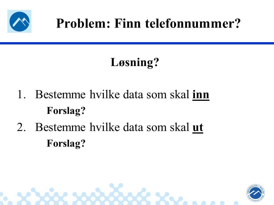 Jæger: Robuste og sikre systemer Problem: Finn telefonnummer? Løsning? 1.Bestemme hvilke data som skal inn Forslag? 2.Bestemme hvilke data som skal ut