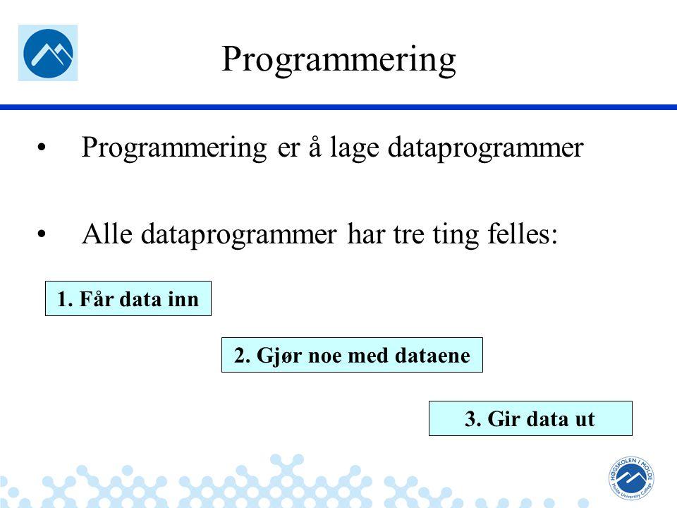 Jæger: Robuste og sikre systemer Programmering Programmering er å lage dataprogrammer Alle dataprogrammer har tre ting felles: 1. Får data inn 2. Gjør
