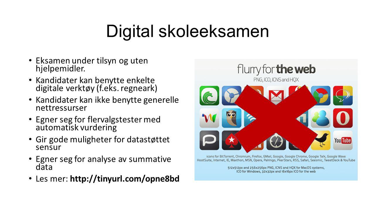Digital skoleeksamen Eksamen under tilsyn og uten hjelpemidler.