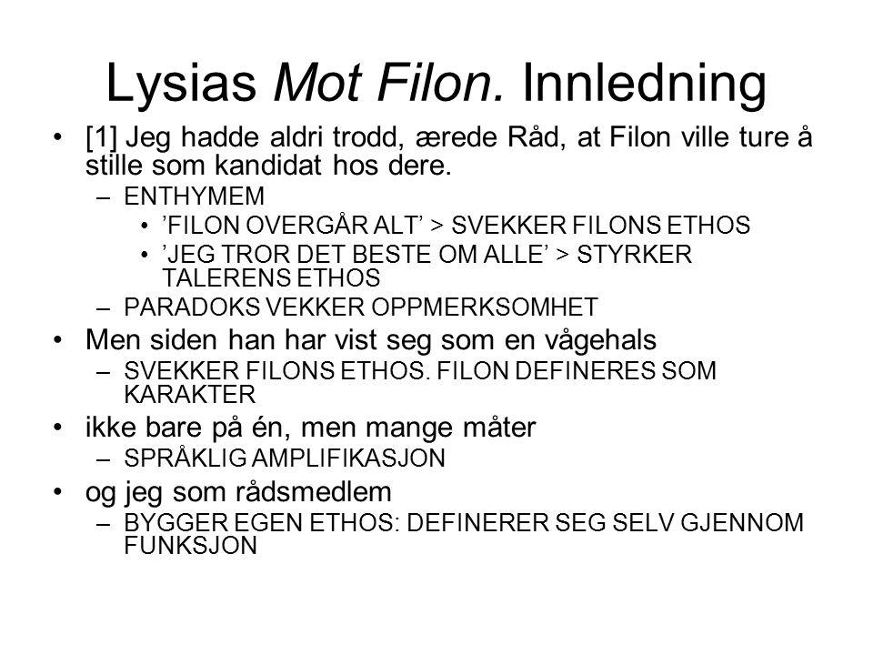 Lysias Mot Filon. Innledning [1] Jeg hadde aldri trodd, ærede Råd, at Filon ville ture å stille som kandidat hos dere. –ENTHYMEM 'FILON OVERGÅR ALT' >
