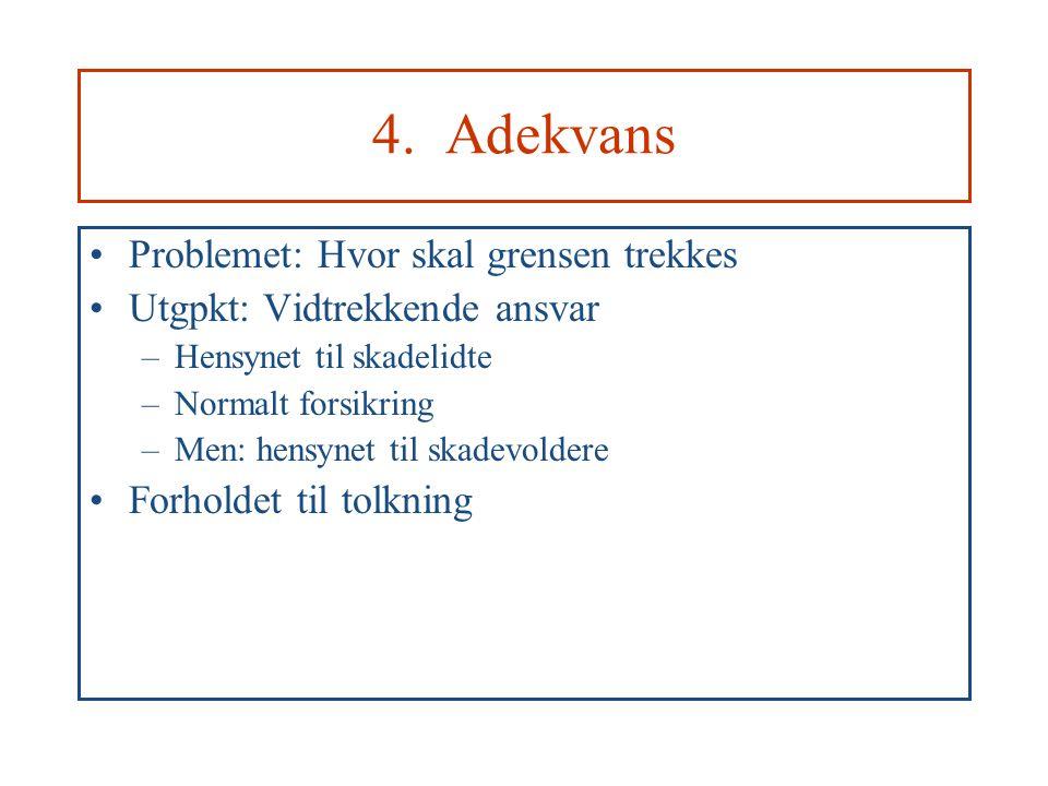 4. Adekvans Problemet: Hvor skal grensen trekkes Utgpkt: Vidtrekkende ansvar –Hensynet til skadelidte –Normalt forsikring –Men: hensynet til skadevold