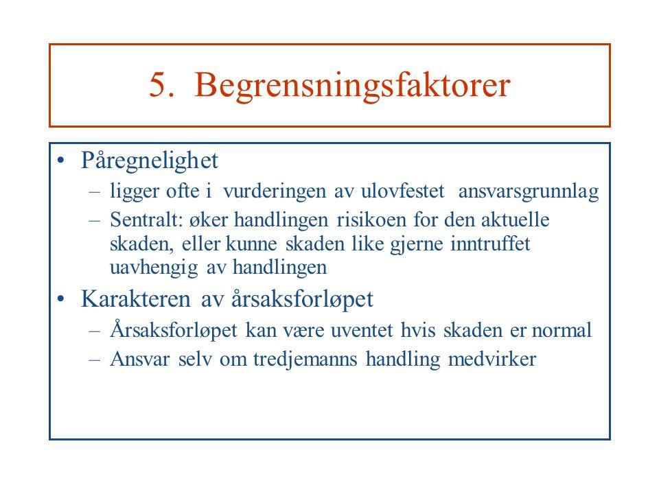 5. Begrensningsfaktorer Påregnelighet –ligger ofte i vurderingen av ulovfestet ansvarsgrunnlag –Sentralt: øker handlingen risikoen for den aktuelle sk