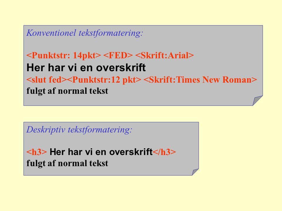 Konventionel tekstformatering: Her har vi en overskrift fulgt af normal tekst Deskriptiv tekstformatering: Her har vi en overskrift fulgt af normal tekst