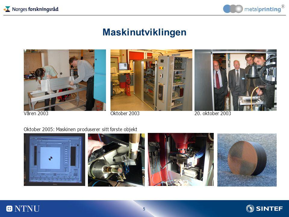 5 metalprinting ® Maskinutviklingen Våren 2003Oktober 200320.