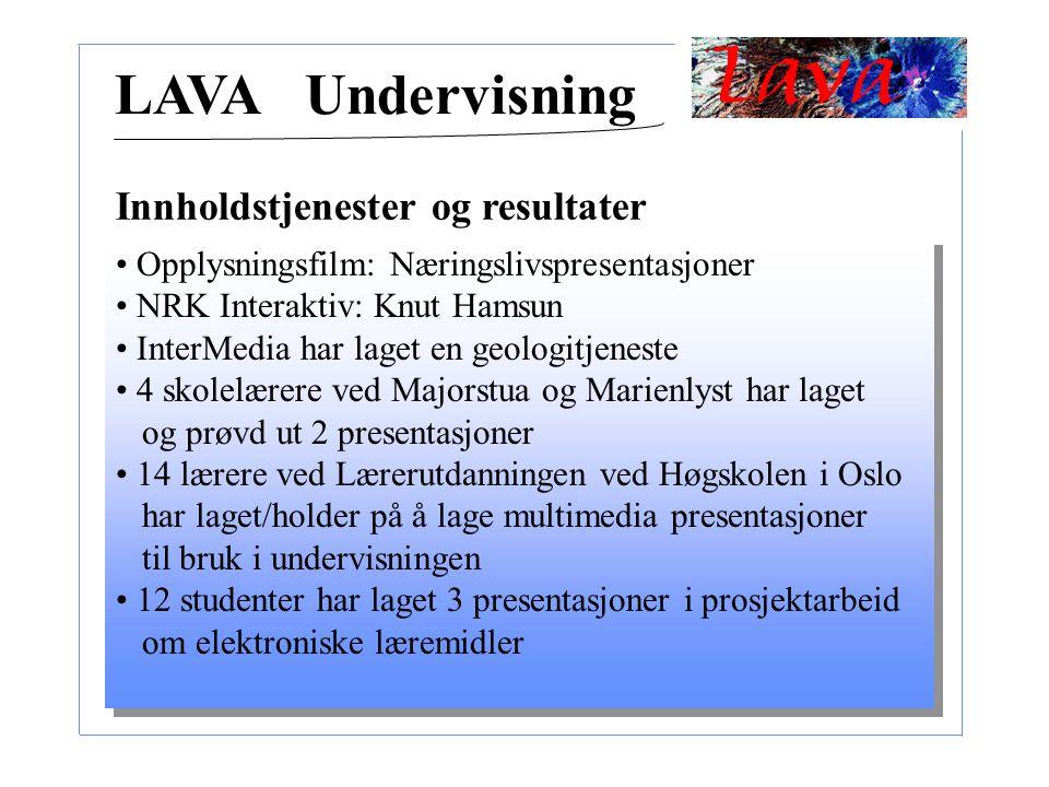 Opplysningsfilm: Næringslivspresentasjoner NRK Interaktiv: Knut Hamsun InterMedia har laget en geologitjeneste 4 skolelærere ved Majorstua og Marienly